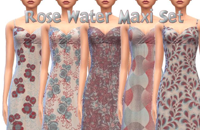 Rose Water Maxi Dress Set 10 Patterns