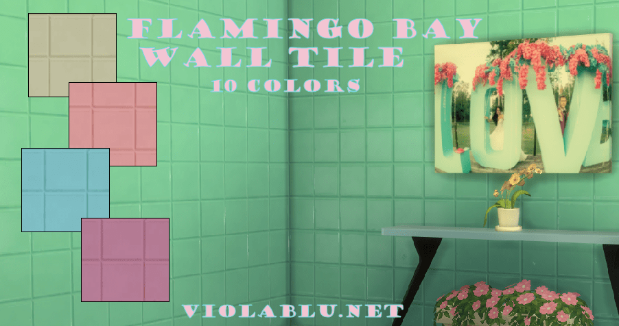 Flamingo Bay Wall Tiles for Sims 4