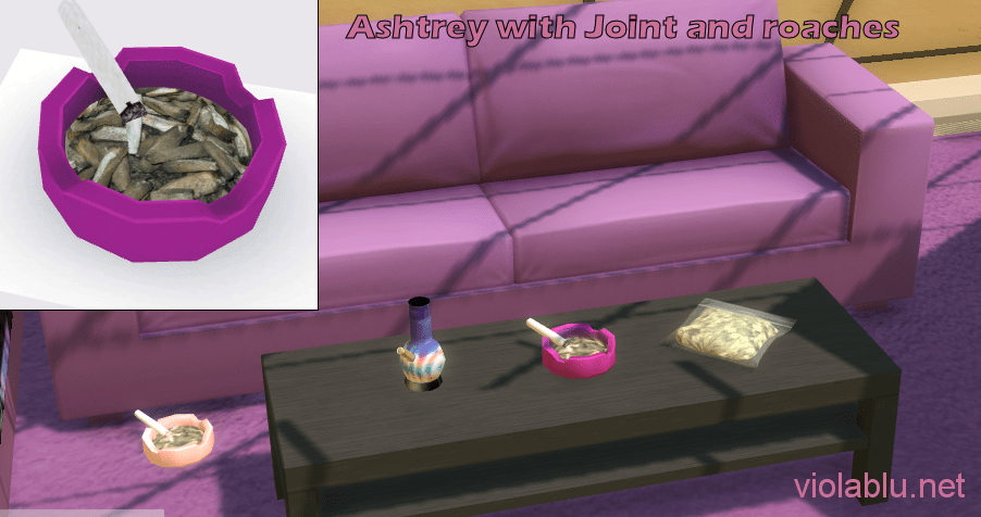 Bong Recolors and Ash Tray with Joint and Roaches for Sims 4