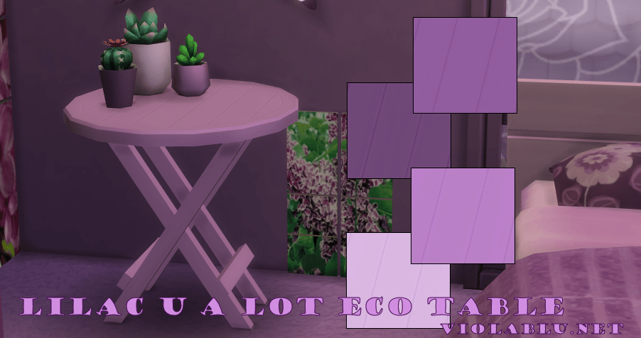 Lilac U A Lot Eco Table for Sims 4