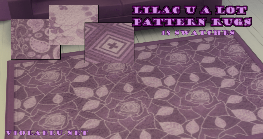 Lilac U A Lot Pattern Rugs for Sims 4