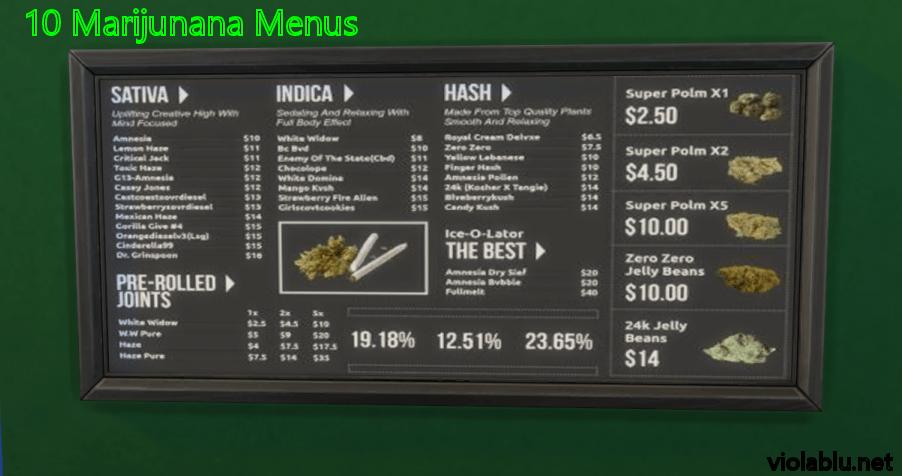 Marijuana Menus for Sims 4