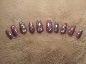 Purple Hologram Color Changing Nails