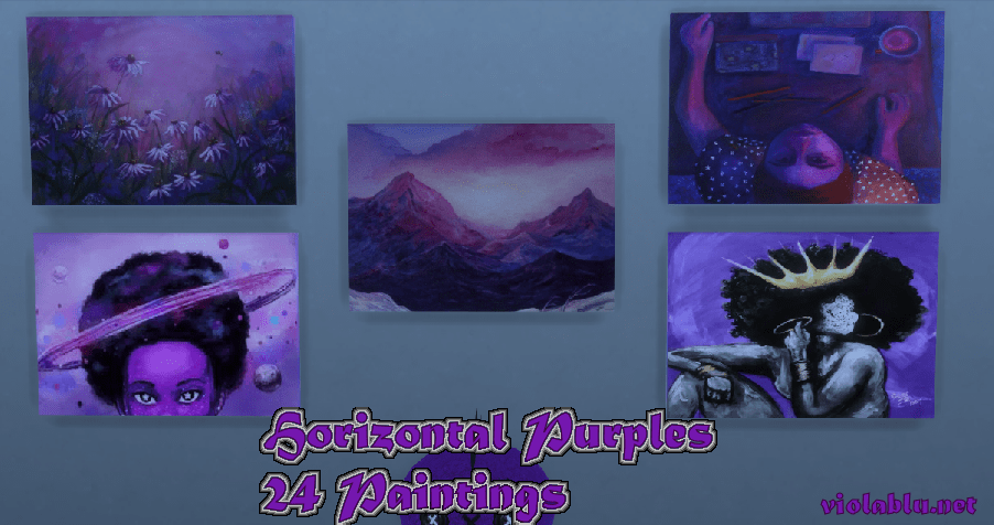 Horizontal Purples Paintings for Sims 4