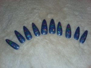 Blue and White Color Changing Holographic Nails