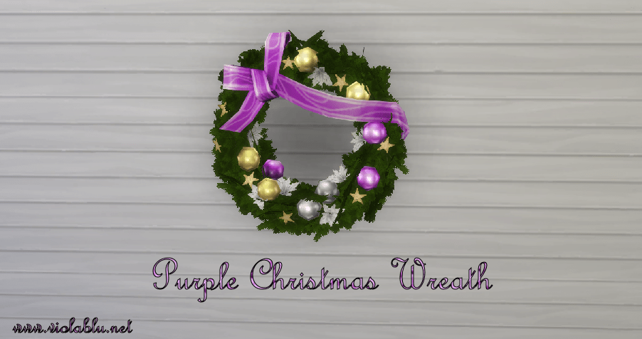 Purple Christmas Wreath for Sims 4