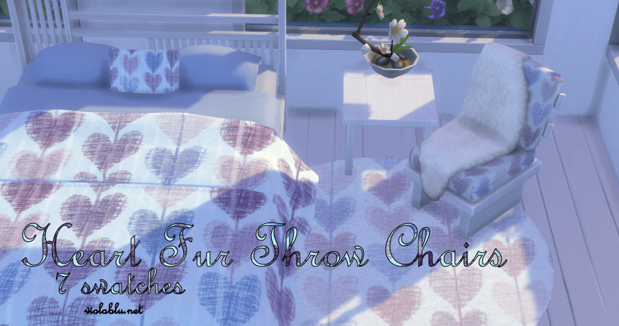 Hearts Chair with Fur Throw for Sims 4