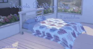 Hearts Bedding Set for Sims 4