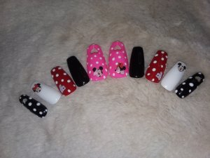 Red & Pink Mickey Mouse Heart Cutout Press on Nails