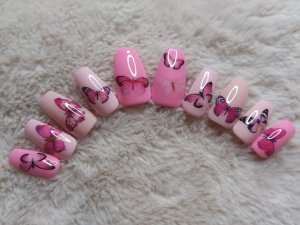 Pink Butterfly Press on Nails