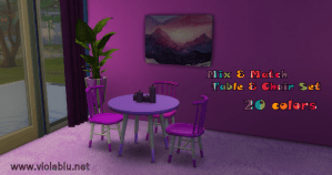 Small Mix & Match Table & Chair Set for Sims 4