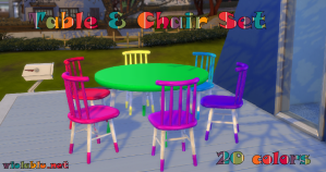Large Mix & Match Table & Chair Set for Sims 4