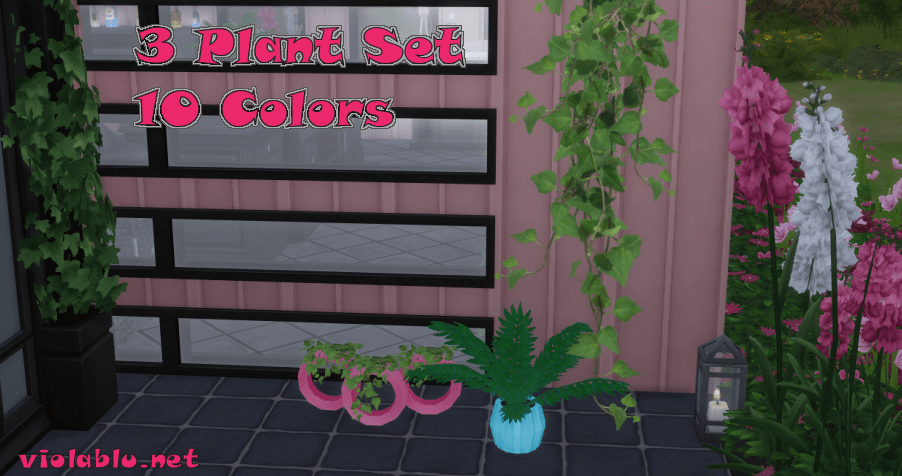 Plant Set in 10 colors for Sims 4