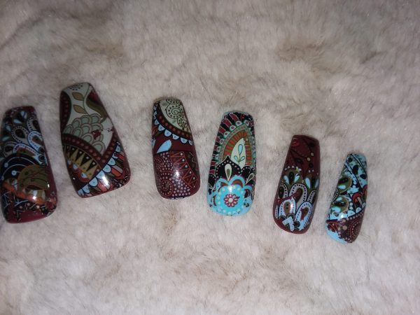 Small Turquoise and Brown Bohemian Press On Nails – Shop Violablu