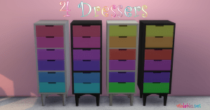 Viola's Tiny Living Dresser Recolors for Sims 4