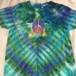 Large Green Peace Turtle Tie Dye