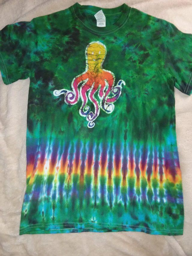 Small Green Scrunch Octopus Tie Dye