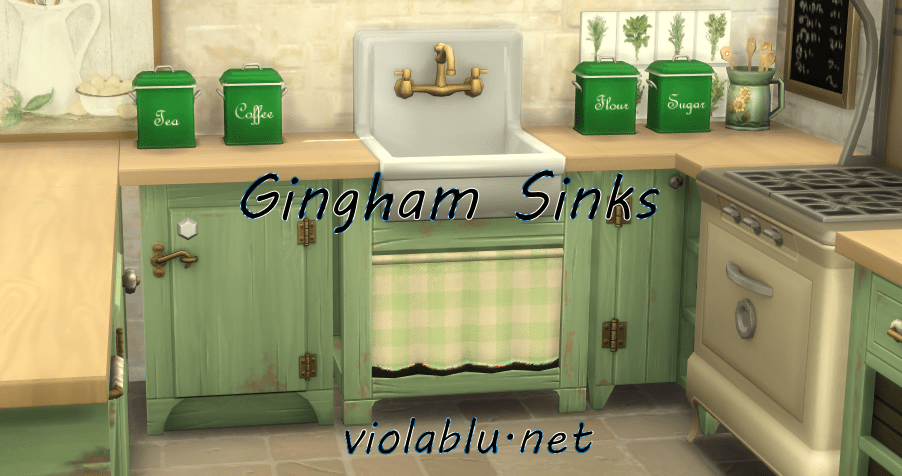 Gingham Sinks for Sims 4