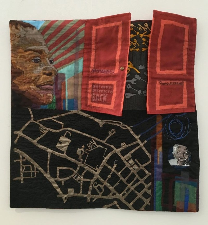 """L'Merchie Frazier, """"Reclaiming, Rekeying, District Six"""" (quilt detail)"""