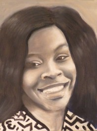 """Laurence Pierce, """"Sandra Bland,"""" from the """"Beloved Fallen"""" series, oil on canvas, 12"""" x 9"""""""