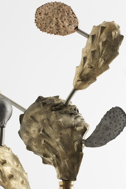 "Salvadore Jiménez-Flores, ""Space Cactus"" / ""Nopal Espacial,"" (Installation detail), Brass, cast iron, rose gold plating, and brass hose, 72"" x 72"" x 72"", 2019 (2 of 2)"