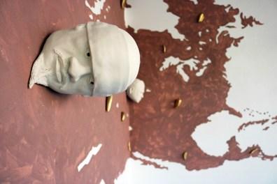 """Salvadore Jiménez-Flores, """"No One Discovered The Americas"""" / """"Nadie descubrió las Américas,"""" Porcelain, synthetic hair, and terra-cotta slip, 2016 (2 of 2)"""