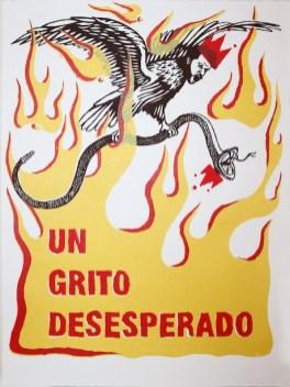 """Salvadore Jiménez-Flores, """"A Desperate Cry"""" / """"Un grito desesperado,"""" Three-color screen print, 11"""" x 15"""", 2017"""