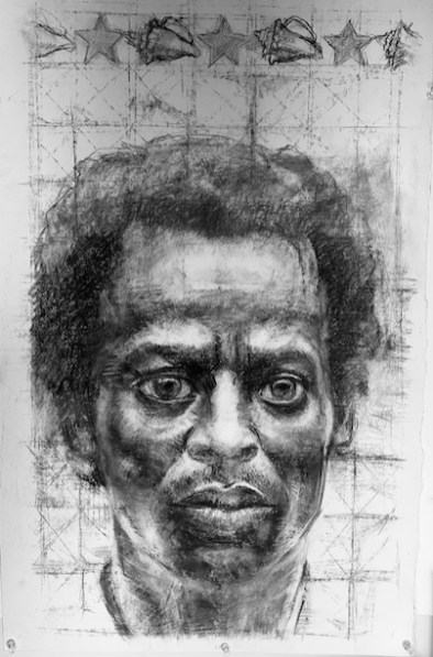 "Carlos Byron, ""Miles Ahead,"" charcoal conté/stonehedge paper, 20"" x 30"", 2010"