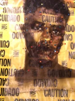 "L'Merchie Frazier, ""Barricades: Caution/Transparent"" (Barricade series), Mixed-Media, nylon fiber, plastic and woven tape, 20"" x 18,"" 2020-2021"