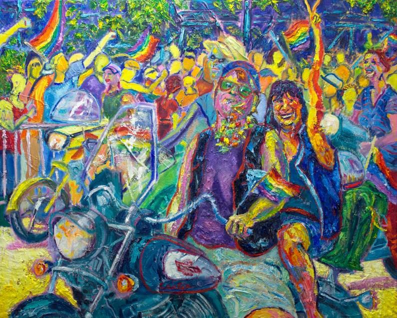 "Judith Carlin, ""Wonderful Day,"" Oil and acrylic on canvas, 24"" x 30"" x 1.5"", 2019"