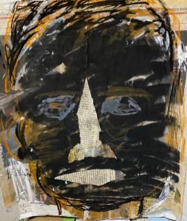 "Carol Daynard, ""Black Lives Matter,"" Charcoal, acrylic, newspaper, 8"" x 11"", 2020"