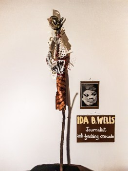 """Gail Jerauld Bos, """"Ida B. Wells,"""" Wood, plastic, exterior paint, 6' tall, 2021"""