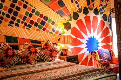 Adore the sunburst floral design here and the contrasting patterns. http://salutmaroc.com