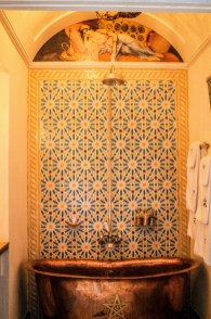Think this is one of my favourite Moroccan bathrooms as cheerful but slightly understated too. http://salutmaroc.com