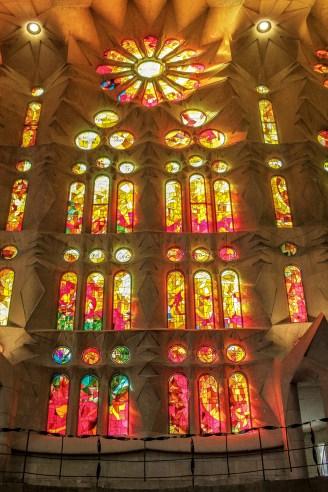 Windows inside the Basilica de la Sagrada Familia, Barcelona