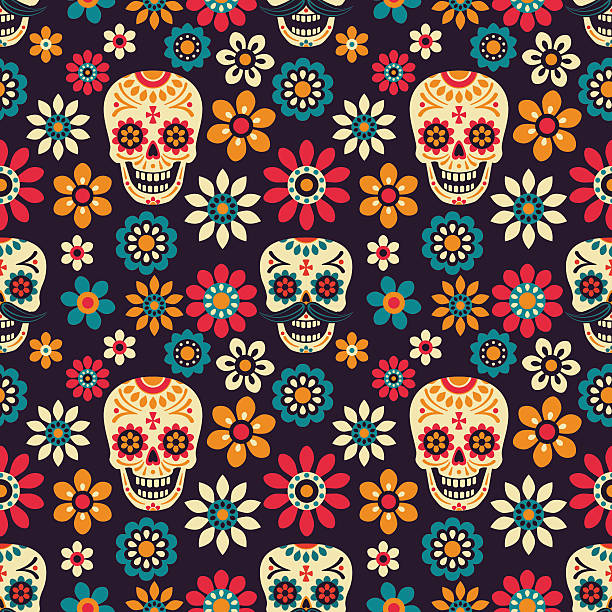 Seamless vector pattern with sugar skulls and flowers on dark background.