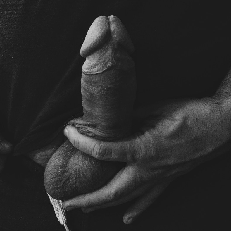 The Ultimate Accessory - b/w image of man holding penis in article about Prince Albert piercings