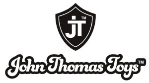 a white J and T intersect on a black shield. Below are the words John Thomas Toys (TM) in a playful, retro-cool type font