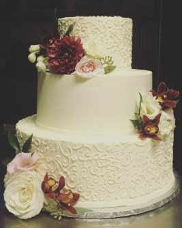 Burgundy and Blush Wedding Cake Flowers Baltimore