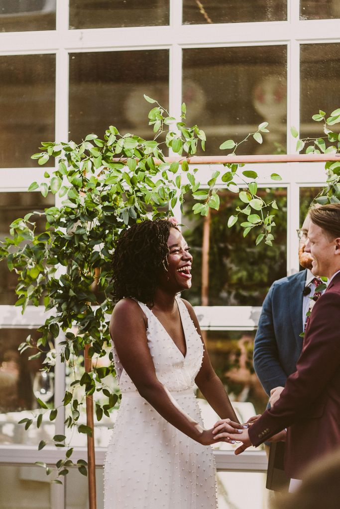 Baltimore Wedding Florist, Copper Arch with Greenery, Baltimore Weddings