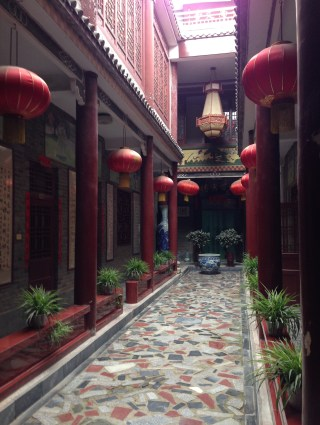 An atrium at Grandmaster Zhu's school