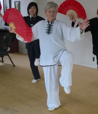Prof. Klein (in the front) teaching Tai Chi fan.