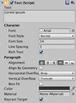 Unity rich text setting