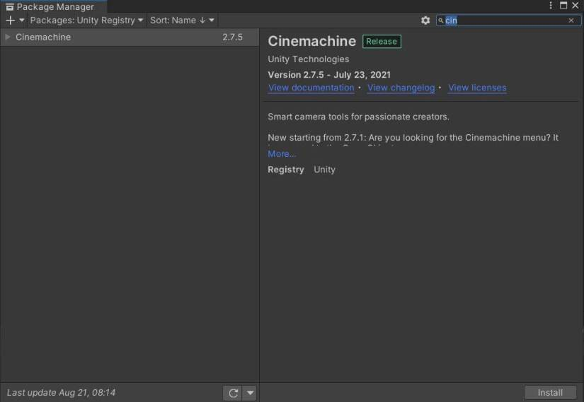 install Cinemachine suing package manager.
