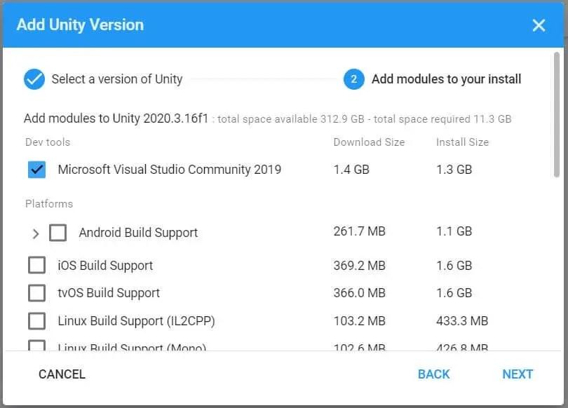 Unity installer
