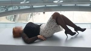 Sofia High Class Escort and Big Beautiful Woman in Hilton Frankfurt Airport Hotel lying on the pedestal