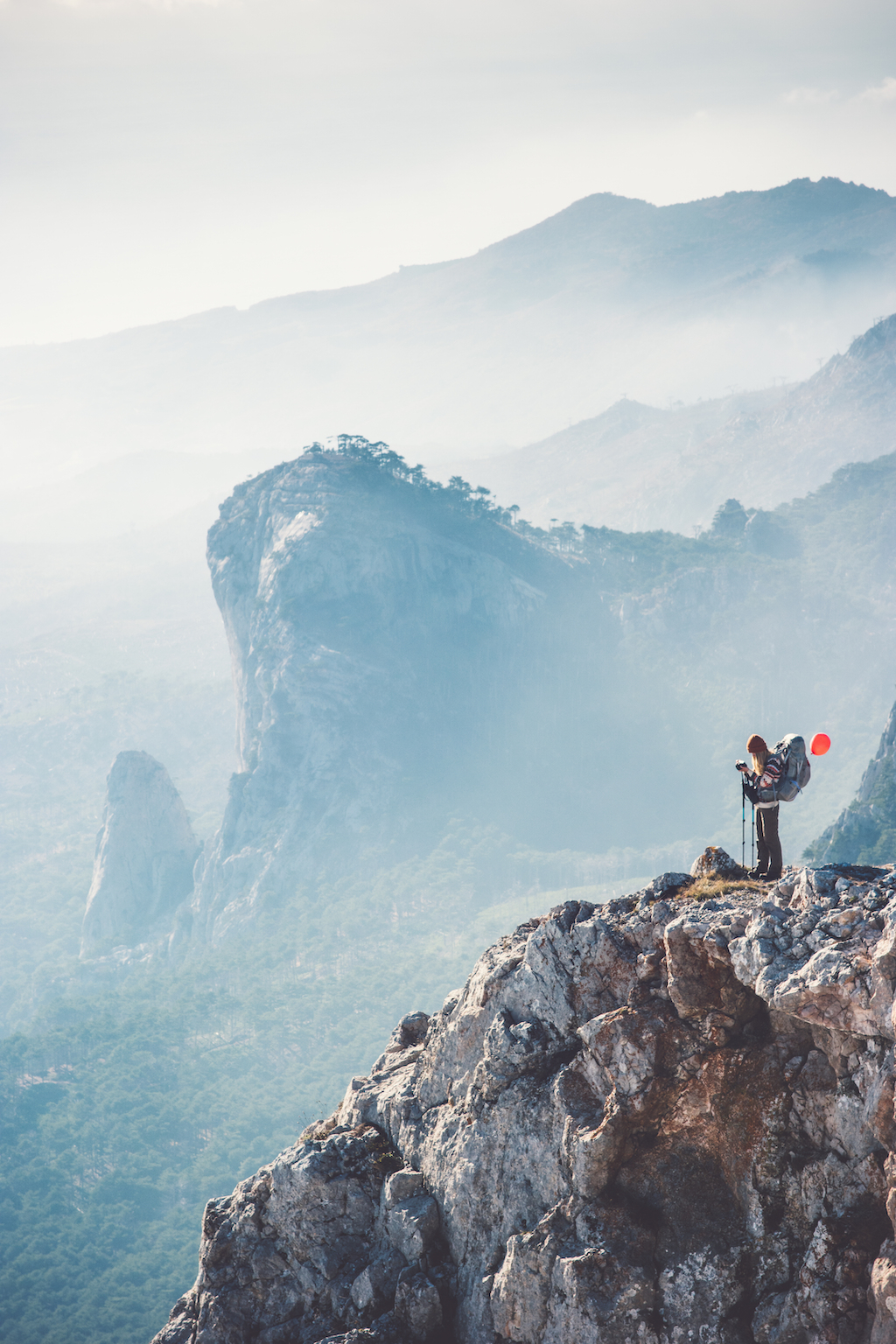 Travel Images - Girl on Mountain