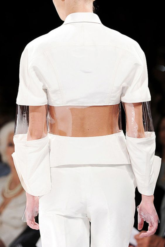 white linen and pvc fashion