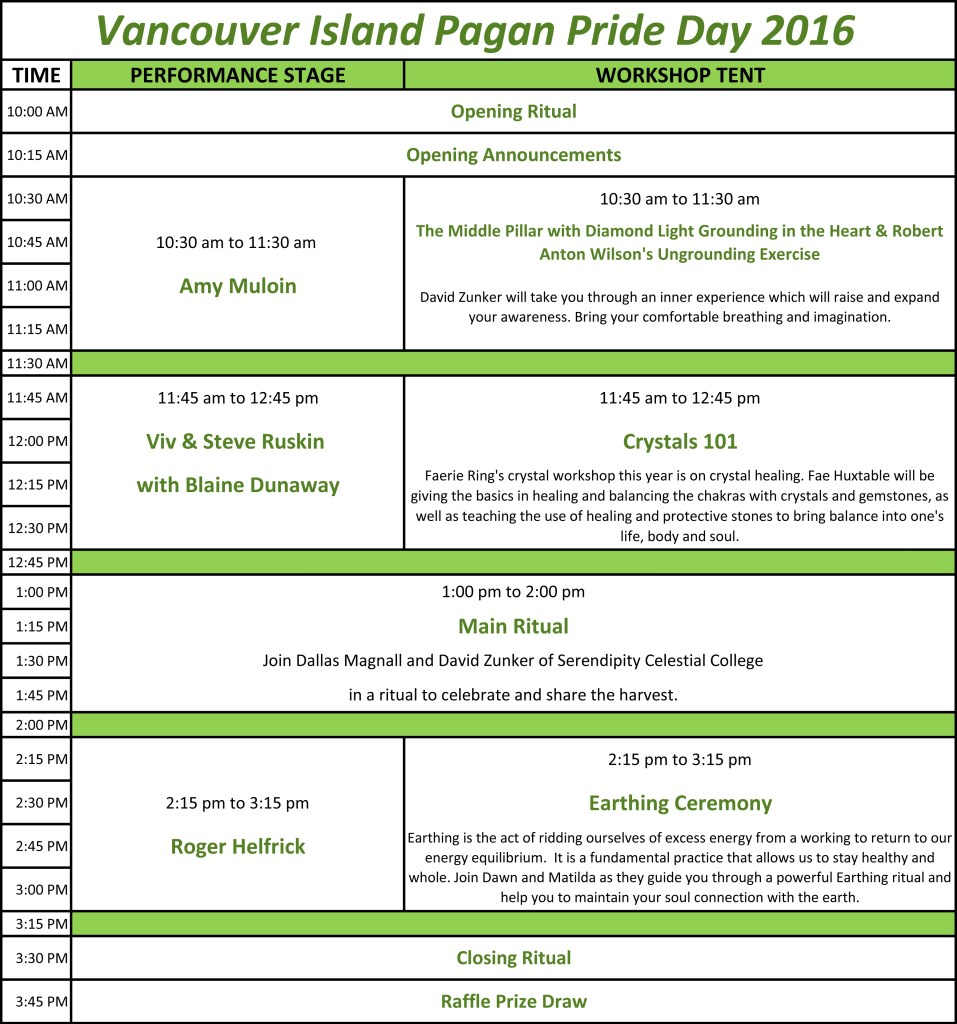 Vancouver Island Pagan Pride Day Schedule 2016