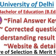 DU B. Ed. || Rank Result Analysis || Final Answer Key || Result || Website || CIE || MVCOE